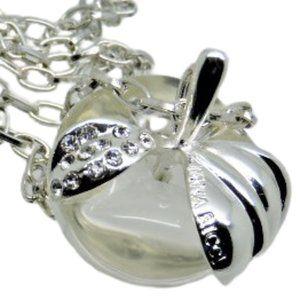 Nina Ricci Apple Pendant Necklace Lucite Crystals